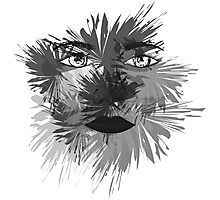 Black and White Face Art Photographic Print