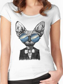 Galaxy Cat Sphynx Sunglass  Women's Fitted Scoop T-Shirt