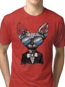 Galaxy Cat Sphynx Sunglass  Tri-blend T-Shirt
