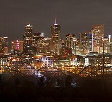 Denver Skyline At Night by jakabulc