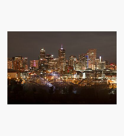 Denver Skyline At Night Photographic Print