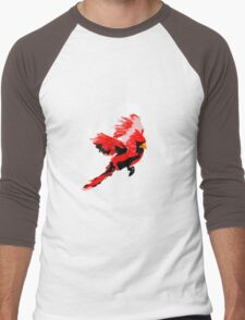 Painted Cardinal Design Men's Baseball ¾ T-Shirt