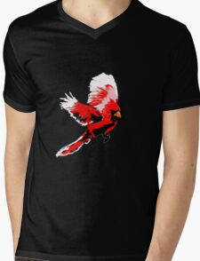 Painted Cardinal Design Mens V-Neck T-Shirt