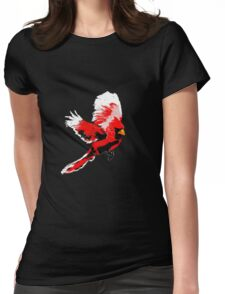 Painted Cardinal Design Womens Fitted T-Shirt