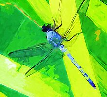 Blue Dragonfly on Green Abstract Impressionism by pjwuebker
