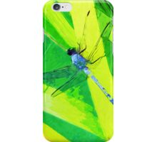Blue Dragonfly on Green Abstract Impressionism iPhone Case/Skin