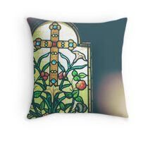 Floral Stained Glass Window Throw Pillow