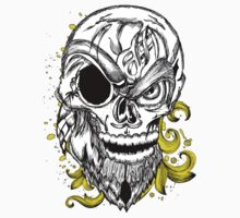 "Skull "" Pirate"" Yellow Floral Skeleton by artkrannie"