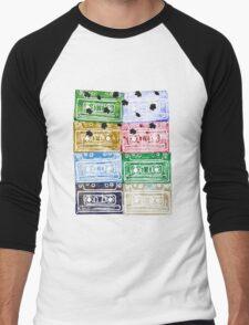 Colourful Retro Vintage Cassette Tapes Leafs Men's Baseball ¾ T-Shirt