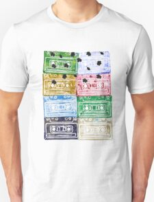 Colourful Retro Vintage Cassette Tapes Leafs T-Shirt