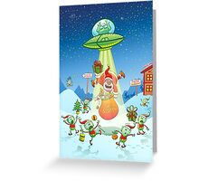Santa Claus Abducted by a UFO just before Christmas Greeting Card