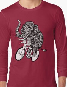 Elephant Aztec on a Bicycle  Long Sleeve T-Shirt