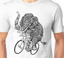 Elephant Aztec on a Bicycle  Unisex T-Shirt