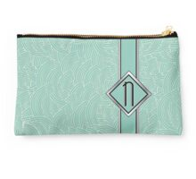1920s Blue Deco Swing with Monogram letter N Studio Pouch