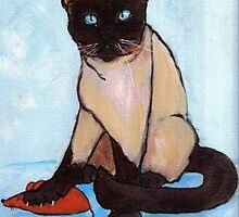 Siamese with his catch by Carole Chapla