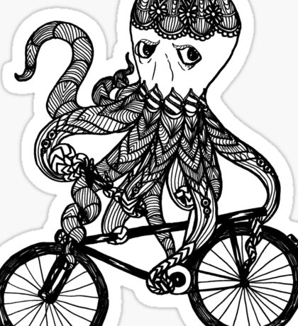 Octopus Love Bicycle  Sticker
