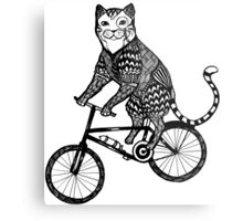 Cat on a Bike Ride  Metal Print