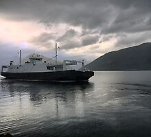"""Grey Over the Sognefjord (3)  The """"Selje"""" Ferry by Larry Lingard-Davis"""