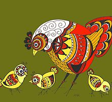 Chicken with Chicks Pop Art Zen Doodle Color by wildwildwest