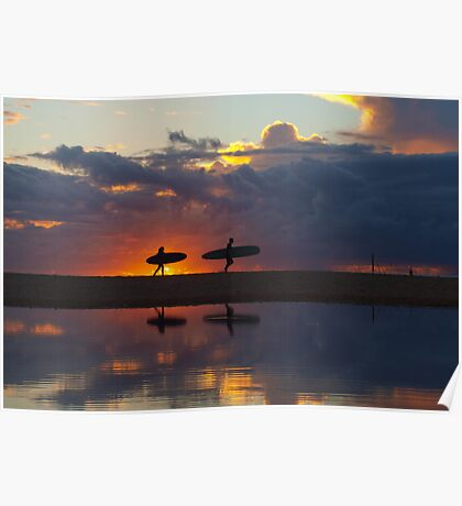 surfer silhouettes II Poster