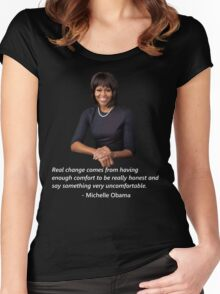 Michelle Obama- White Women's Fitted Scoop T-Shirt