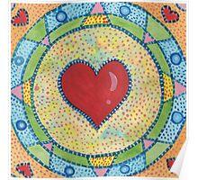 Red Heart Mandala Poster