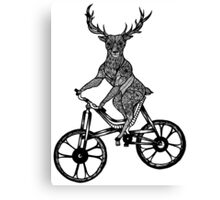 Funny Deer Aztec on a Bicycle  Canvas Print