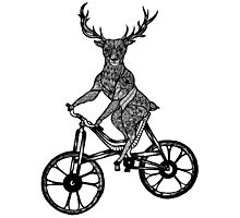 Funny Deer Aztec on a Bicycle  Photographic Print
