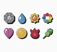 Kanto Pokemon Badges (With Shadow) Kids Clothes