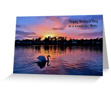 Swan at Sunset Mother's Day Card - Wonderful Mom Greeting Card