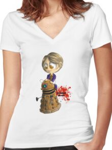 Exterminate the rude Women's Fitted V-Neck T-Shirt