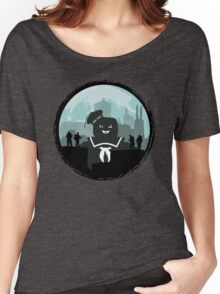 Ghostbusters versus the Stay Puft Marshmallow Man Women's Relaxed Fit T-Shirt