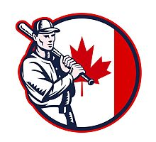 Canadian Baseball Batter Canada Flag Circle by patrimonio