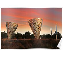 Sunset At Water Dance Sculptures Poster