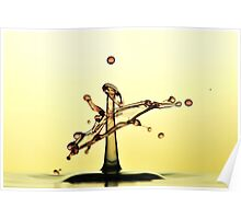 Water droplet collision in yellow Poster