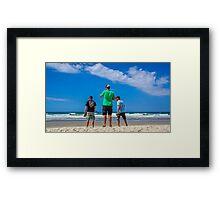 Boyz checking the beach Framed Print
