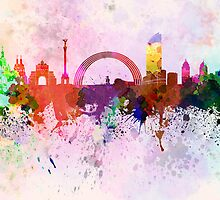 Kiev skyline in watercolor background by paulrommer