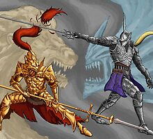 Dark Souls/Demon's Souls: Ornstein vs Penetrator matted print by MenasLG