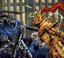 Dark Souls: Artorias vs Ornstein print by MenasLG