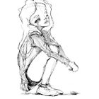 Crouching girl; illustration by Julia Major