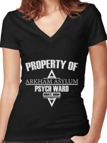 Arkham Asylum // Psych Ward Inmate Design // White Font Women's Fitted V-Neck T-Shirt
