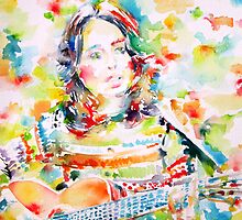 JOAN BAEZ playing - watercolor portrait by lautir