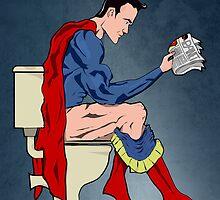 Superhero On Toilet by Wyattdesign