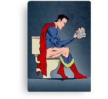 Superhero On Toilet Canvas Print
