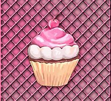 Cupcake on a Pink Frosting Background by tsuttles