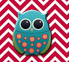 Cute Green and Blue Owl on Red Chevron by tsuttles