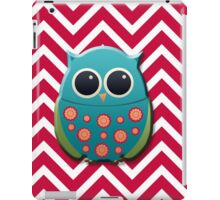 Cute Green and Blue Owl on Red Chevron iPad Case/Skin