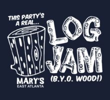 LOG JAM (white ink) by bendito