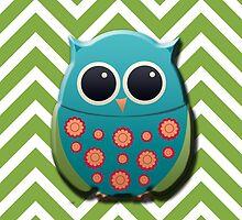 Blue and Green Owl on Green and White Chevron by tsuttles