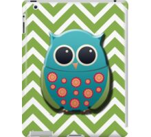 Blue and Green Owl on Green and White Chevron iPad Case/Skin